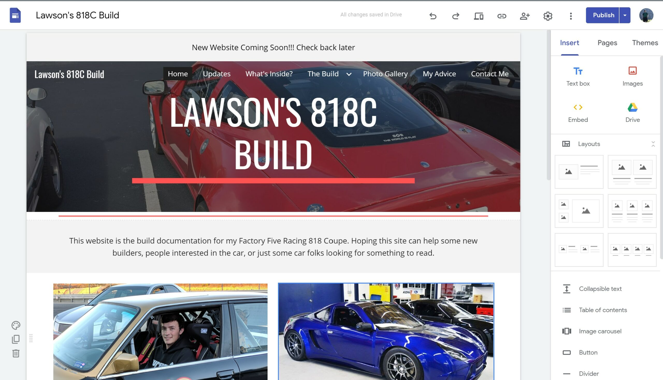 First version of Lawson's 818C Website